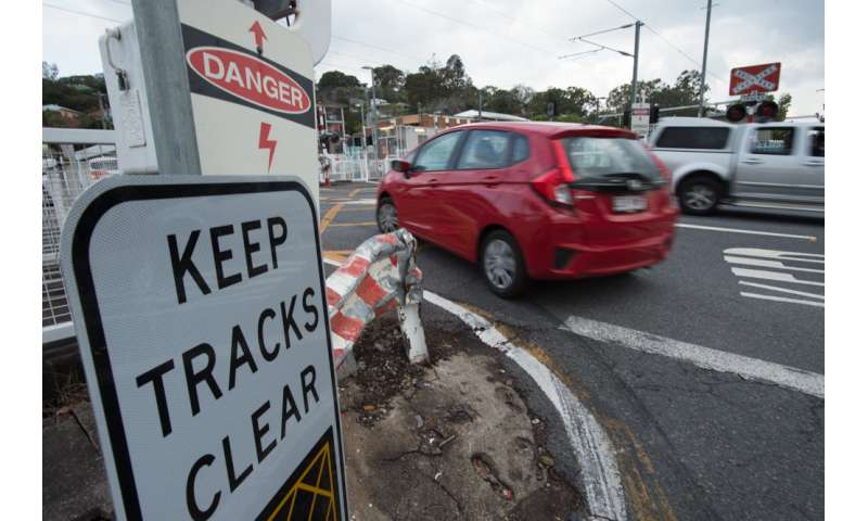 Drivers are less cautious at railway crossings
