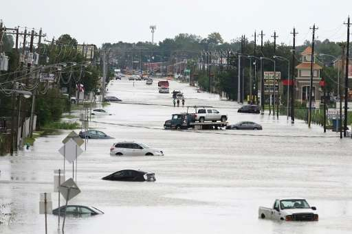 Floodwaters on Telephone Road in Houston on August 30
