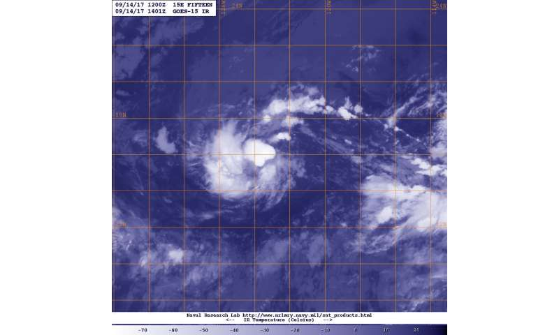 GOES-West Satellite shows shear in Tropical Depression 15E
