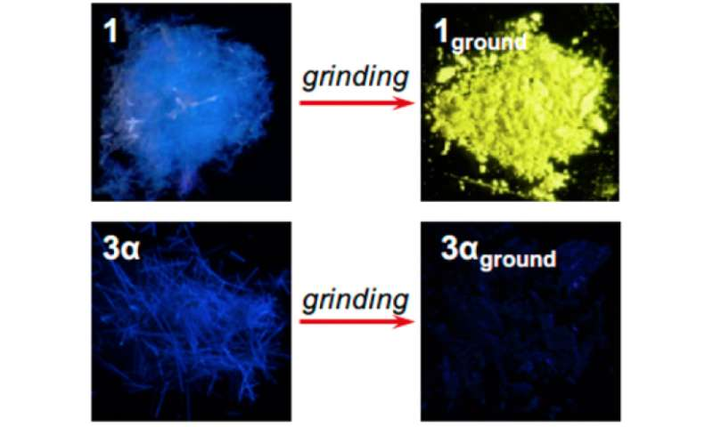 Gold compound shifts from a visible fluorescence to emitting infrared when ground