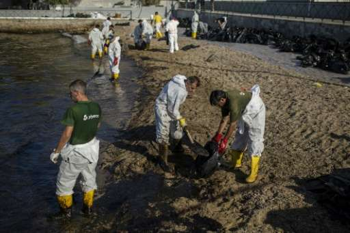 "Greek officials say every available resource has been deployed to clean up the oil spill within ""20-25 days""."