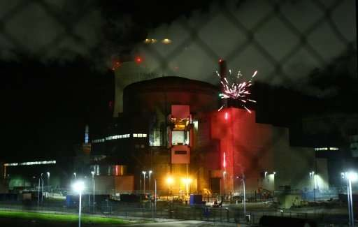 Greenpeace said the fireworks were set off at the foot of a spent fuel pool—where nuclear plants store highly radioactive fuel r