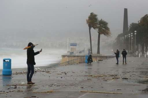 Heavy winds from the storm dubbed Ana lashed Nice, southeastern France, on Monday