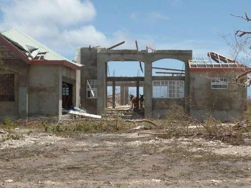 Houses in Codrington, Antigua and Barbuda, devastated by Hurricane Irma