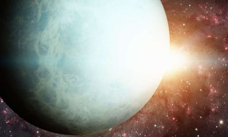 How the sun's influence on the remote planet Uranus changes its brightness in the sky