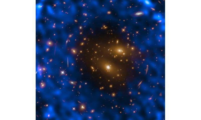 Hubble cooperates on galaxy cluster and cosmic background