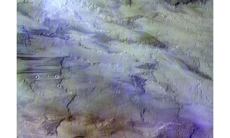 Image: Clouds over lava flows on Mars