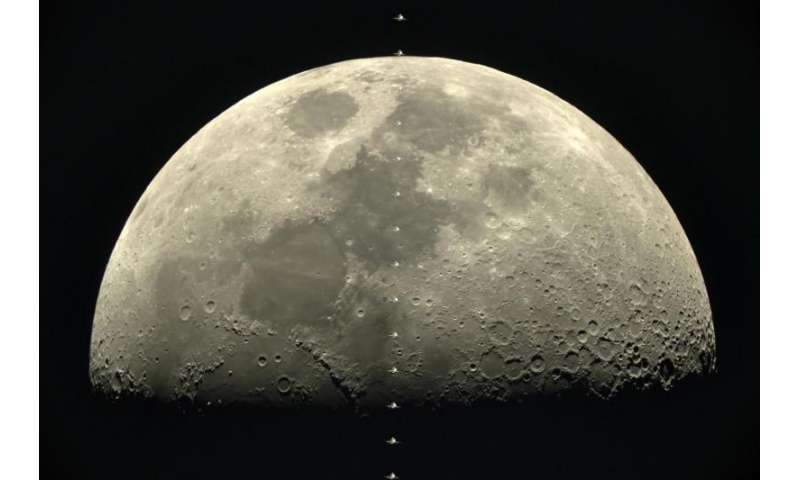 Image: ISS transits the moon