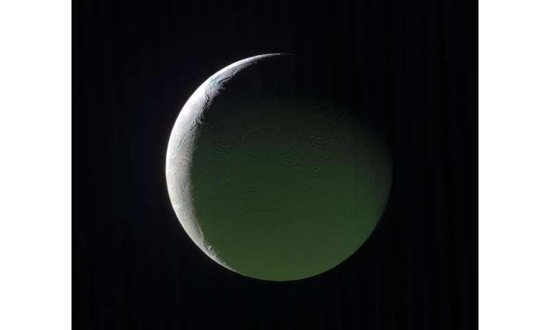 Image: Saturn-facing hemisphere of Enceladus