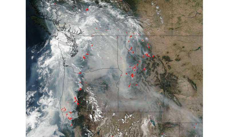 Image: Smoke obscures much of the Pacific Northwest