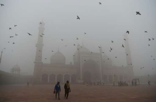 Indian visitors walk through the courtyard of Jama Masjid amid heavy smog in the old quarters of New Delhi