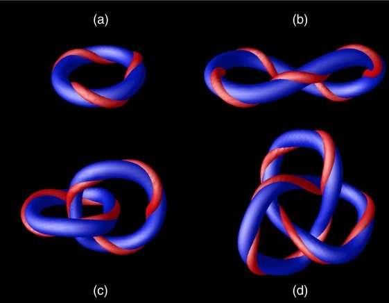Simulação de skyrmions magnéticos como números de Hopf iguais a 3 (a), 6 (b), 7 (c) e 10 (d). Imagem: Sutcliffe (2017)