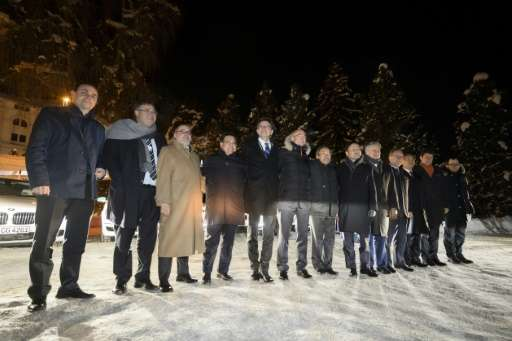 Members of the new Hydrogen Council at the Davos World Economic Forum on January 17, 2017. Major industrial groups have decided