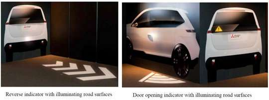 Mitsubishi electric system uses road-surface projections and car-body displays to indicate vehicle movements clearly