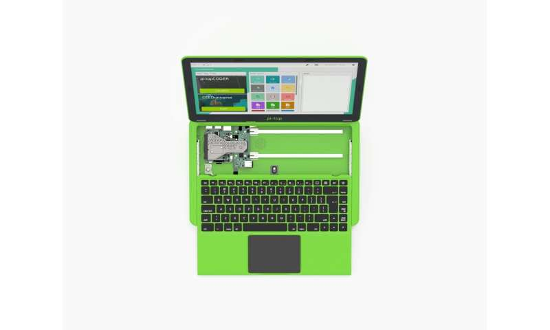 Modular portable laptop has sliding keyboard and learning paths