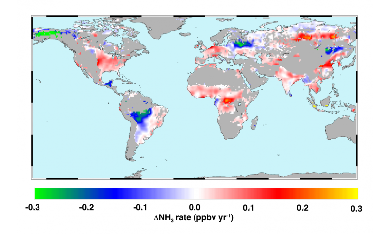 Multi-year study finds 'hotspots' of ammonia over world's major agricultural areas