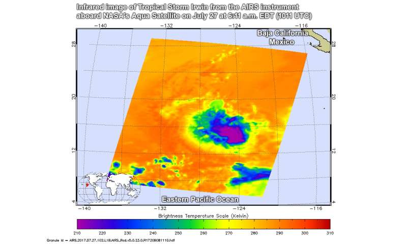 NASA casts an infrared eye on Tropical Storm Irwin