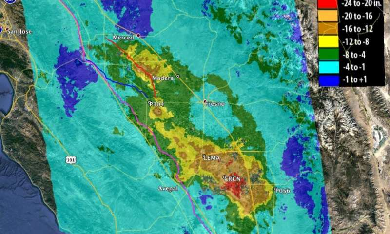 NASA data show California's San Joaquin Valley still sinking