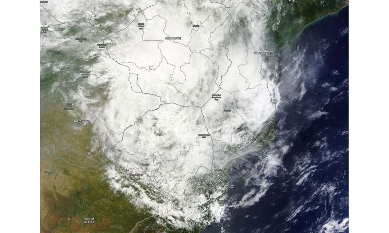 NASA examines Ex-Tropical Cyclone Dineo's rainfall
