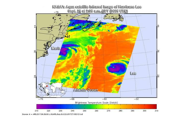NASA finds Hurricane Lee's strength shift