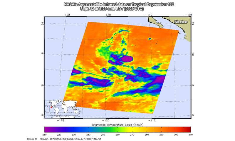 NASA finds some strength in new eastern Pacific tropical depression