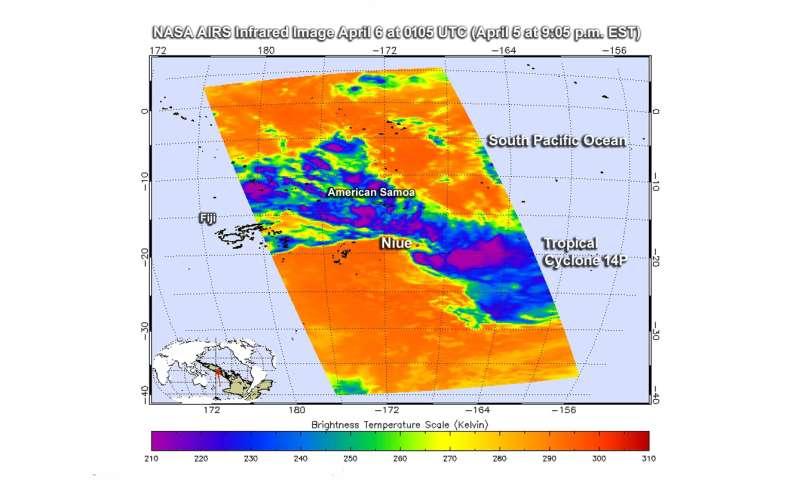 NASA infrared imagery shows wind shear blowing Cyclone 14P apart