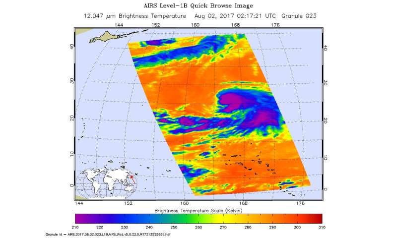 NASA look at Tropical Storm Nalgae in infrared light