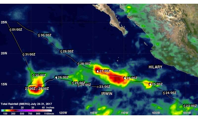 NASA looks at Tropical Cyclones Irwin and Hilary rainfall and Fujiwara Effect