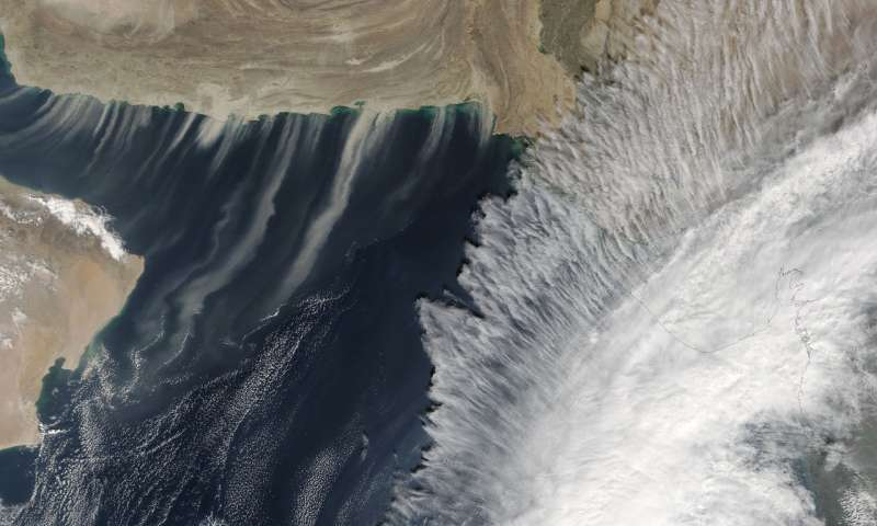NASA sees a mix of Tropical Cyclone Ockhi and dust storms
