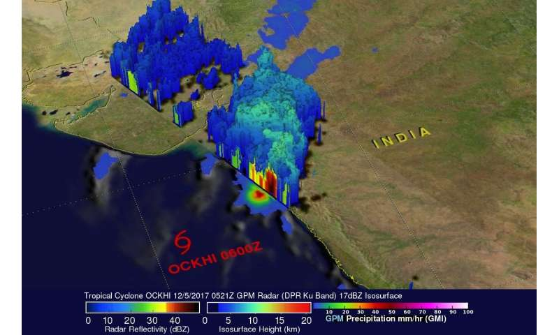 NASA sees sees Ockhi's Rain reach India's Western coast