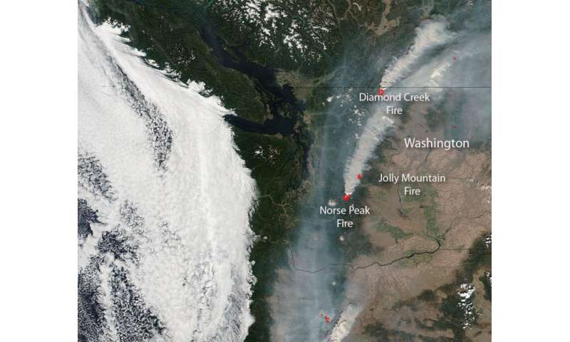 "NASA Sees Washington State ""Under Fire"""