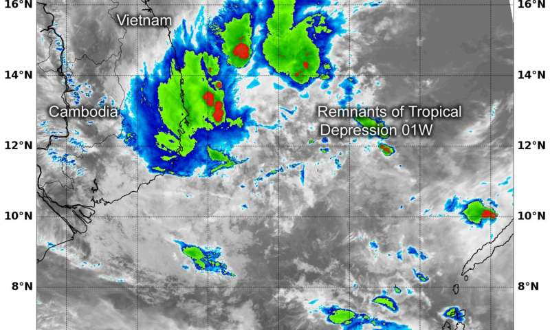 NASA's Terra Satellite sees a spark of life in former Tropical Depression 01W's remnants