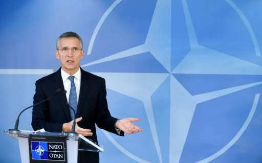 NATO Secretary General Jens Stoltenberg speaks to the press during a Foreign Affairs meeting at the NATO headquarters in Brussel