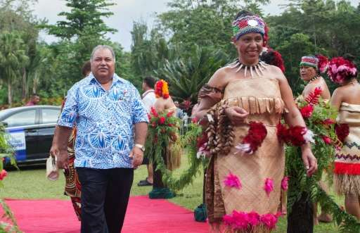 Nauru's Prime Minister Baron Waqa arrives for the opening of 48th Pacific Islands Forum in Apia, Samoa, where a World Bank repor