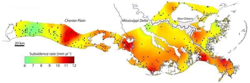 New map highlights sinking Louisiana coast
