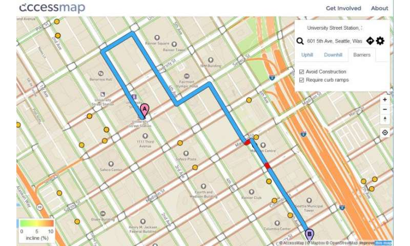 New route-finding map lets Seattle pedestrians avoid hills, construction, accessibility barriers