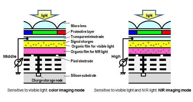 Organic CMOS image sensor with electrically controllable near ...