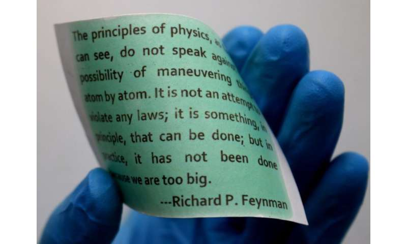 Light-printable rewritable paper showing a quote by Richard Feynman.
