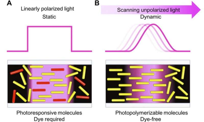 Photopolymerization-triggered molecular motion for flexible liquid crystal display