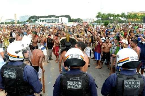 Protesters in Brazil in 2015 demand protection for indigenous people's rights