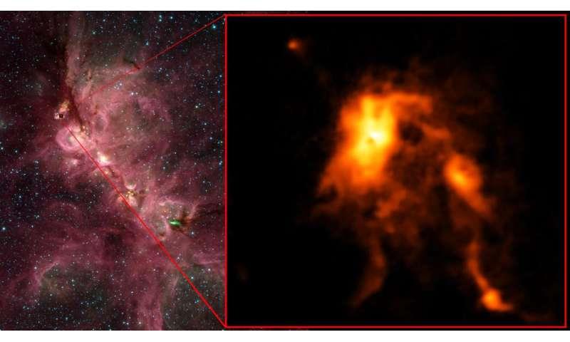 Protostar blazes bright, reshaping its stellar nursery