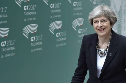 """Make no mistake: the fight is moving from the battlefield to the internet,"" Prime Minister Theresa May told her G7 co"