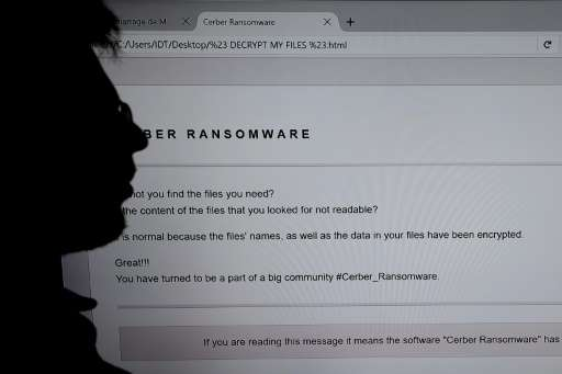 Ransomware, which is a type of virus that locks computer files until the user pays a virtual fee to regain access to the data, h