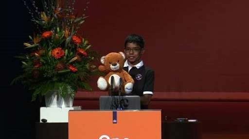 Reuben Paul addresses the World Forum cyber security conference in The Hague