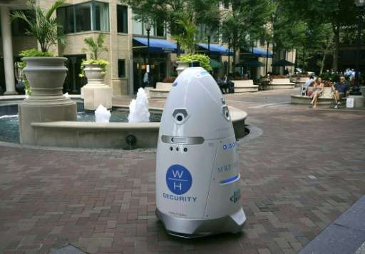 Rosie, a five-foot (1.5 meter) tall outdoor K5 security robot, has taken up patrols at the Washington Harbour retail-residential