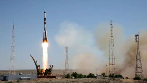 Russia's Progress M-28M cargo ship blasts off from the launch pad at the Russian-leased Baikonur cosmodrome in Kazakhstan on Jul