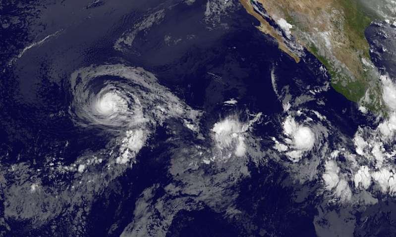 Satellite shows a weaker Hurricane Fernanda