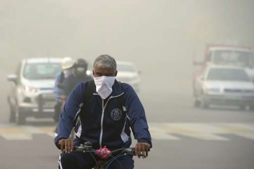 Some streets in the Indian capital have recorded pollution levels 40 times the World Health Organization recommended safe level