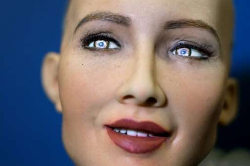 Sophia, a humanoid robot, is the main attraction at a conference on artificial intelligence this week but her technology has rai