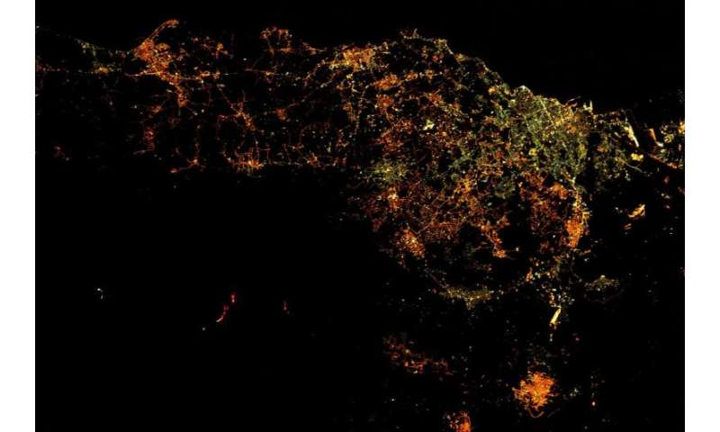 Space Station view of Mount Etna erupting